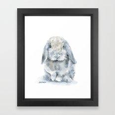 Mini Lop Gray Rabbit Watercolor Painting Framed Art Print