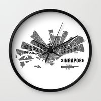singapore Wall Clocks featuring Singapore Map by Shirt Urbanization