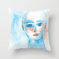 sylvia plath Throw Pillows featuring Sylvia  by Antonio Ayres