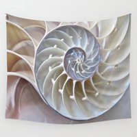 shell Wall Tapestries featuring Nautilus Shell by mingtaphotography