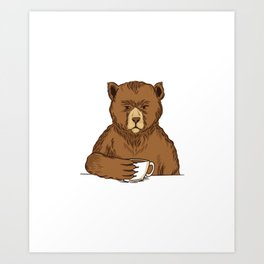 Brown Bear Coffee Cappuccino Art Print