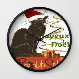 Joyeux Noel Le Chat Noir Christmas Parody Wall Clock