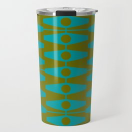 abstract eyes pattern aqua olive Travel Mug