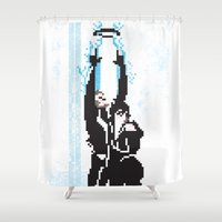 tron Shower Curtains featuring 8 Bit Tron: Legacy by Danny Nanni