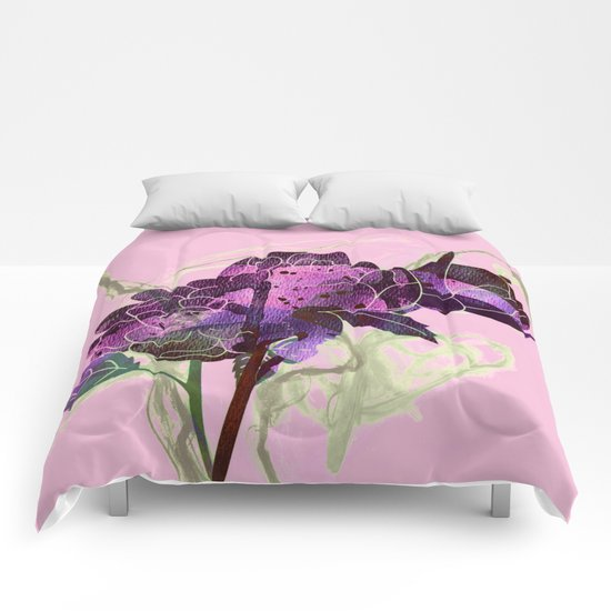 abstract bouquet pink purple Comforters