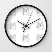 doge Wall Clocks featuring Doge by belgoldie