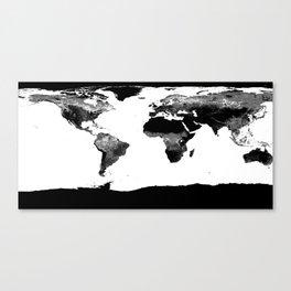 World Map  Black & White Canvas Print