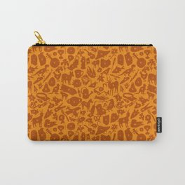 Alphabet Compendium Letter Silhouette Pattern - Orange Carry-All Pouch