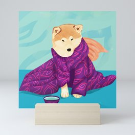 Shiba Inu Wearing a Purple Kimono, Enjoying Matcha Tea Mini Art Print