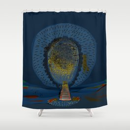 Tree Cactus in a Blue Desert Shower Curtain