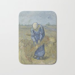 Peasant Woman Binding Sheaves (after Millet) Bath Mat