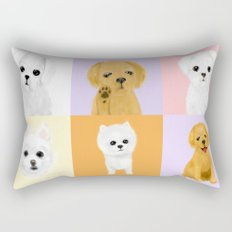 doggies on rug Rectangular Pillow