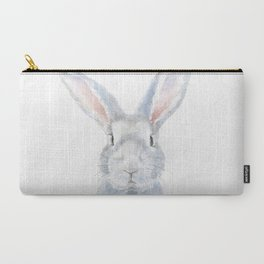 Gray Bunny Rabbit Watercolor Painting Carry-All Pouch