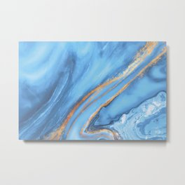 Blue gold marble Metal Print