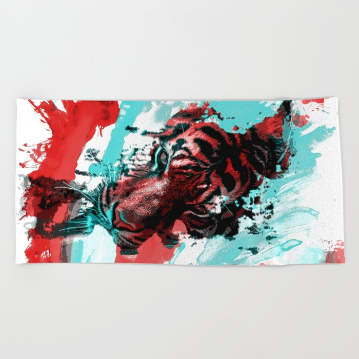 Tiger blue red 4 Beach Towel
