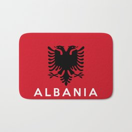 albania country flag name text Bath Mat