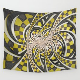 Liquid Taxi Cab, a Yellow Checkered Retro Fractal Wall Tapestry