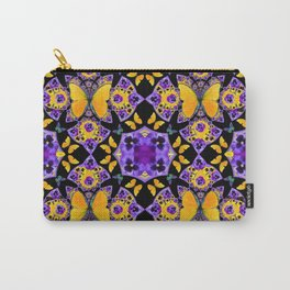 BLACK-GOLD-PURPLE BUTTERFLIES PANSY KALEIDOSCOPE Carry-All Pouch