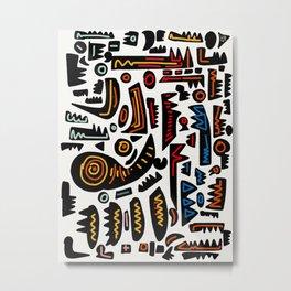 African Inspired Pattern Abstract Art Graffiti  Metal Print