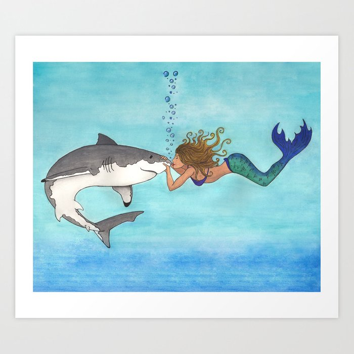 The Shark And The Mermaid Art Print By Lindusmaximus86