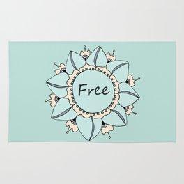 I Feel Free - Soft Light Blue Nouveau Bohemian Mandala Rug