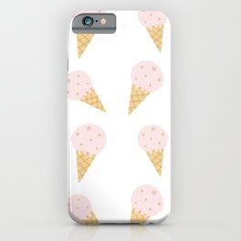 cute hand drawn pink and gold cone ice cream pattern  iPhone Case