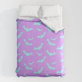 Blue Bat Pattern on Purple Comforters