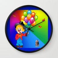 clown Wall Clocks featuring Clown by Art-Motiva