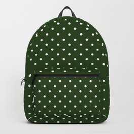 Small White Polka Dot Spots on Dark Forest Green Backpack