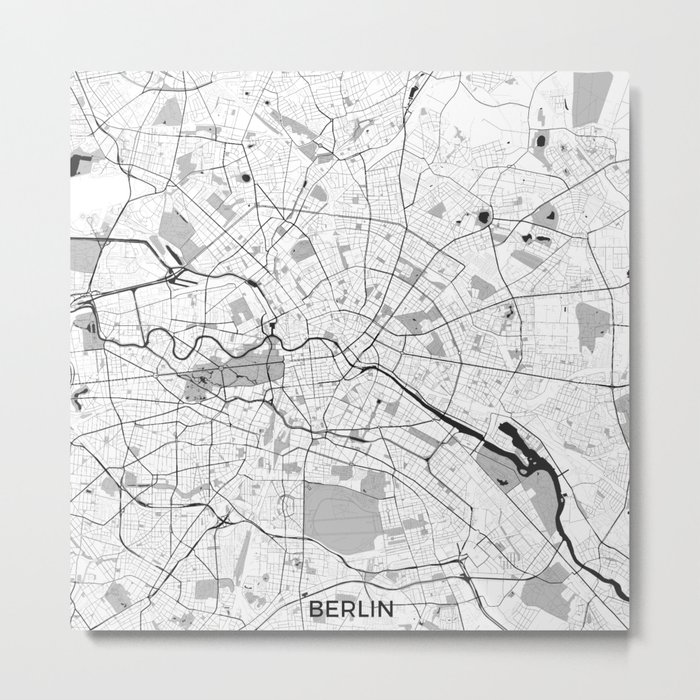 Berlin Map Gray Metal Print