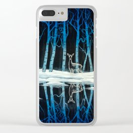 """""""The Forest of Dean"""" (Bob Ross-style Patronus Painting) Clear iPhone Case"""