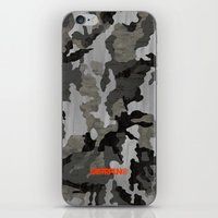 Modern Woodgrain Camouflage / Winter Birch Woodland Print iPhone Skin
