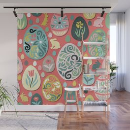 paper easter eggs and bunnies Wall Mural
