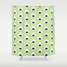 Kawaii Onigiri Rice Balls Shower Curtain