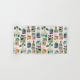 Tiny Cottages with plants Hand & Bath Towel
