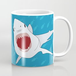 Shark Attack Underwater With Fish Swimming In The Background Coffee Mug
