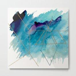Galaxy Series 1 - a blue and gold abstract mixed media set Metal Print