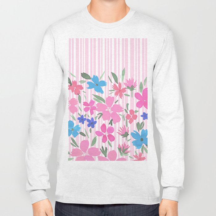 Floral Spring and Stripes Pink Long Sleeve T-shirt