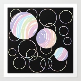 Abstract Artwork Pattern of Color Circles on a Black Background Style #02 Art Print