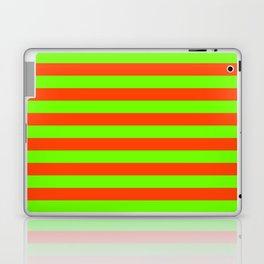 Super Bright Neon Orange and Green Horizontal Beach Hut Stripes Laptop & iPad Skin