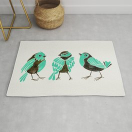 Turquoise Finches Rug