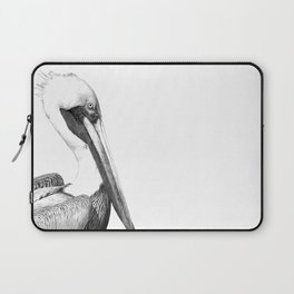 Black and White Pelican Laptop Sleeve