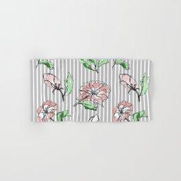 hand drawn flowers, striped Hand & Bath Towel