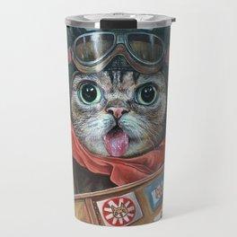 Lil Bub Takes Flight, cute cat art, oil painting portrait, flying plane in sky, kitty, kitten Travel Mug