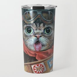 Lil Bub Takes Flight, cute cat art, oil painting portrait, flying plane in sky, kitty, kitten Travel Mug