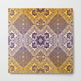 ornamental paisley with diamond on yellow ombre Metal Print
