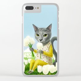 A cat sitting in the flower garden Clear iPhone Case