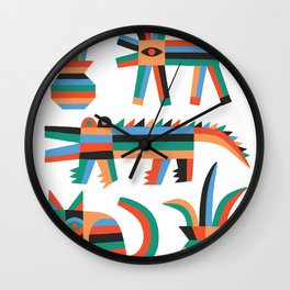 Animal friends chilling with potted plants by Matt Clinard Wall Clock