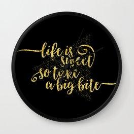 TEXT ART GOLD Life is sweet Wall Clock