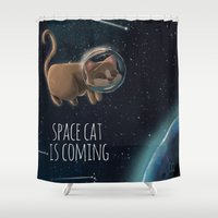 space cat Shower Curtains featuring Space cat by CookiesOChocola